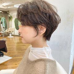 フェミニン ゆるふわセット 横顔美人 ショート ヘアスタイルや髪型の写真・画像