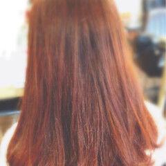 ガーリー カッパー オレンジ オレンジベージュ ヘアスタイルや髪型の写真・画像