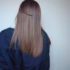 ヘアアクセ ストレート ハイライト セミロング ヘアスタイルや髪型の写真・画像