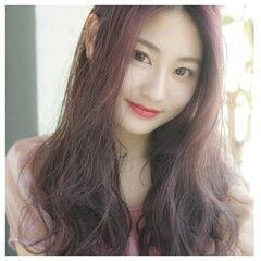 韓国ヘア フェミニン ラベンダーピンク ロング ヘアスタイルや髪型の写真・画像