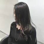 グラデーションカラー コンサバ アッシュ 暗髪