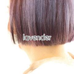 ラベンダーピンク ベリーピンク ボブ ショートヘア ヘアスタイルや髪型の写真・画像