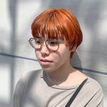 オレンジカラー ショート マッシュ ナチュラル