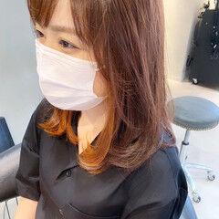 ナチュラル インナーカラーオレンジ オレンジカラー オレンジベージュ ヘアスタイルや髪型の写真・画像
