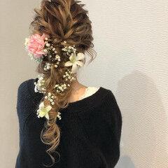 ヘアアレンジ 編み込み ロング ガーリー ヘアスタイルや髪型の写真・画像