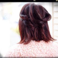 大人女子 かわいい ピンク ボブ ヘアスタイルや髪型の写真・画像
