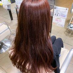 ピンクブラウン ロング ノーブリーチ ピンクラベンダー ヘアスタイルや髪型の写真・画像
