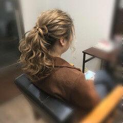 ヘアセット ヘアアレンジ りぼん ガーリー ヘアスタイルや髪型の写真・画像