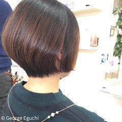モード 外国人風 ボブ 暗髪 ヘアスタイルや髪型の写真・画像