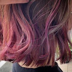 ミニボブ ブルージュ ボブ ピンクパープル ヘアスタイルや髪型の写真・画像