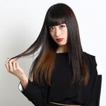 インナーカラー ロング ストレート 黒髪