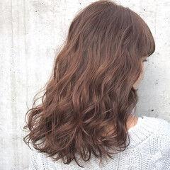 ニュアンス フェミニン ピンク ミディアム ヘアスタイルや髪型の写真・画像