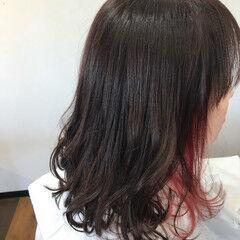 ロブ オーガニックカラー セミロング グレーカラー ヘアスタイルや髪型の写真・画像