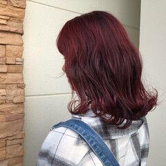 デート ガーリー ピンクバイオレット セミロング ヘアスタイルや髪型の写真・画像