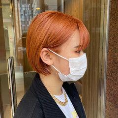 オレンジ ボブ ショートボブ ナチュラル ヘアスタイルや髪型の写真・画像