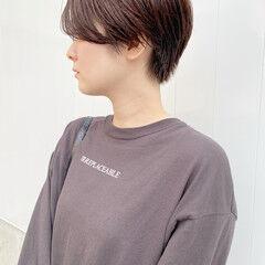 ピンクベージュ ショート ショートヘア ハンサムショート ヘアスタイルや髪型の写真・画像