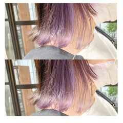 パープルアッシュ ストリート ピンクパープル パープルカラー ヘアスタイルや髪型の写真・画像