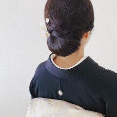 着物 ミディアム 結婚式ヘアアレンジ 黒留袖 ヘアスタイルや髪型の写真・画像