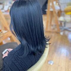 モード セミロング 就活 ブルーブラック ヘアスタイルや髪型の写真・画像