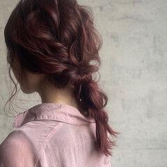 ピンクラベンダー 簡単ヘアアレンジ 編みおろしヘア ナチュラル ヘアスタイルや髪型の写真・画像