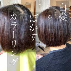 ボブ 白髪染め グレーカラー 髪質改善カラー ヘアスタイルや髪型の写真・画像