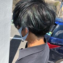 ブルーグラデーション エメラルドグリーンカラー メッシュ ターコイズブルー ヘアスタイルや髪型の写真・画像