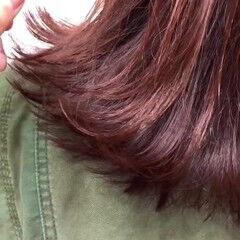 フェミニン 切りっぱなしボブ チェリーピンク チェリー ヘアスタイルや髪型の写真・画像