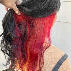 ロング 暗髪 フェミニン レッド ヘアスタイルや髪型の写真・画像