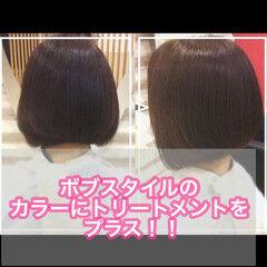 髪質改善トリートメント ミニボブ ナチュラル 髪質改善 ヘアスタイルや髪型の写真・画像
