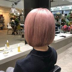 ハイライト ブリーチ ピンクアッシュ ボブ ヘアスタイルや髪型の写真・画像