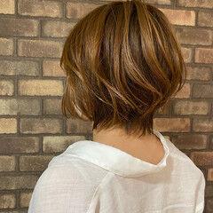 ショートボブ ボブ イルミナカラー アディクシーカラー ヘアスタイルや髪型の写真・画像