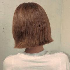 ワンレン 切りっぱなしボブ フェミニン ブラウン ヘアスタイルや髪型の写真・画像