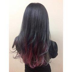 パープル ガーリー ツートン ピンク ヘアスタイルや髪型の写真・画像