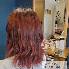 ミディアム チェリーピンク チェリーレッド チェリー ヘアスタイルや髪型の写真・画像