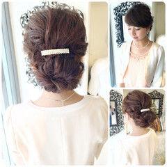結婚式 シニヨン バレッタ ヘアアレンジ ヘアスタイルや髪型の写真・画像