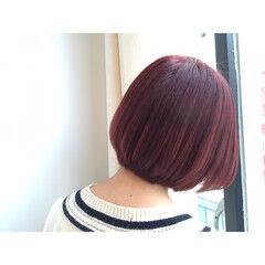 ストリート ボブ ピンク パープル ヘアスタイルや髪型の写真・画像