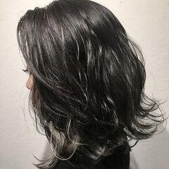 ヘアアレンジ ナチュラル ミディアム コントラストハイライト ヘアスタイルや髪型の写真・画像