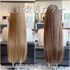 髪質改善カラー ナチュラル 髪質改善 ロングヘア ヘアスタイルや髪型の写真・画像