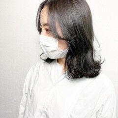 ミディアム 髪質改善カラー ナチュラル 外ハネ ヘアスタイルや髪型の写真・画像