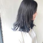 ナチュラル セミロング インナーカラー 艶髪