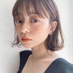 フェミニン 切りっぱなしボブ デジタルパーマ ボブ ヘアスタイルや髪型の写真・画像