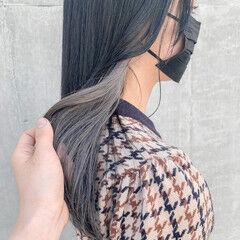 ホワイトシルバー 韓国ヘア ロング イヤリングカラー ヘアスタイルや髪型の写真・画像