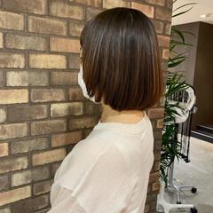 イルミナカラー ボブ 透明感 縮毛矯正 ヘアスタイルや髪型の写真・画像