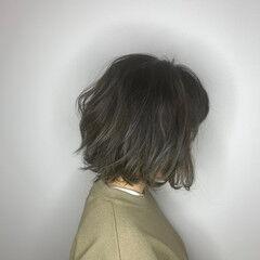 バイヤレージュ ゆるふわ ボブ アウトドア ヘアスタイルや髪型の写真・画像
