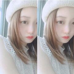 ミディアム 夏 ベレー帽 前髪アレンジ ヘアスタイルや髪型の写真・画像