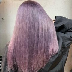 ラベンダーグレー セミロング ラベンダー ラベンダーアッシュ ヘアスタイルや髪型の写真・画像