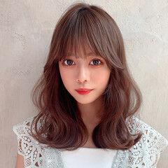 モテ髪 レイヤー フェミニン セミロング ヘアスタイルや髪型の写真・画像