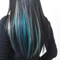 インナーカラーグレージュ インナーカラー インナーカラーライム モード ヘアスタイルや髪型の写真・画像