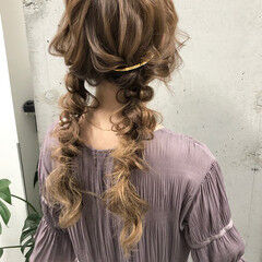 編みおろしヘア ヘアアレンジ 編みおろし 編みおろしツイン ヘアスタイルや髪型の写真・画像