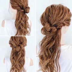 簡単ヘアアレンジ フェミニン くるりんぱ ロング ヘアスタイルや髪型の写真・画像
